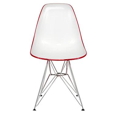 Orren Ellis Lila Molded 2-Tone Eiffel Dining Side Chair; White/Red