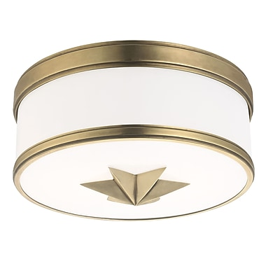 Rosdorf Park Kelsie 2-Light Flush Mount; Aged Brass