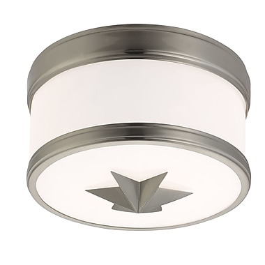 Rosdorf Park Kelsie 1-Light Flush Mount; Satin Nickel