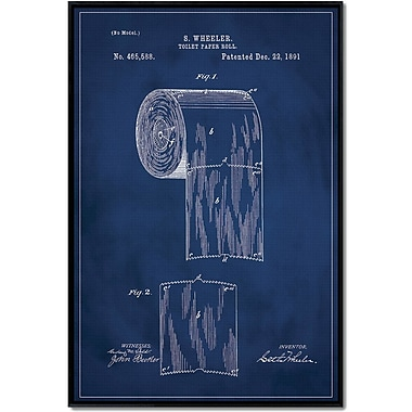 17 Stories 'Toilet Paper Patent' Framed Graphic Art Print on Wrapped Canvas; 18'' H x 12'' W