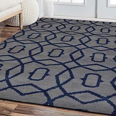 Ivy Bronx Sampson Geometric Hand Knotted Wool Light Blue Area Rug; 5' x 8'