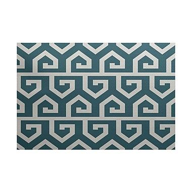 Ivy Bronx Whit Geometric Print Teal Indoor/Outdoor Area Rug; 3' x 5'