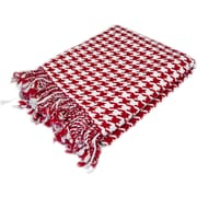 Peach Couture 100pct Cashmere Houndstooth Throw; Red