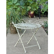 August Grove Maura Folding Bistro Table; Antique White