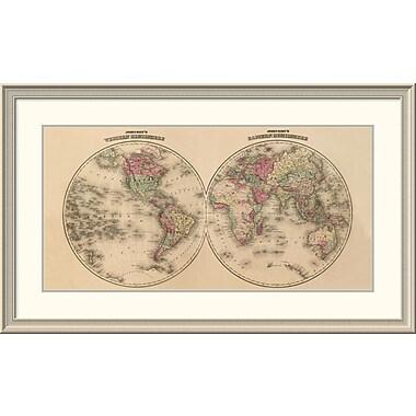 East Urban Home 'Johnson's World Map' Framed Print; 26'' H x 44'' W x 1.5'' D