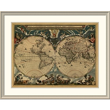East Urban Home 'New & Accurate Map of the World' Framed Print; 35'' H x 44'' W x 1.5'' D