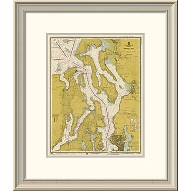 'Nautical Chart - Admiralty Inlet and Puget Sound to Seattle Ca. 1975 - Sepia Tinted' Framed Print