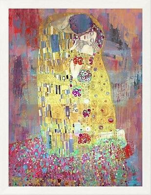 East Urban Home 'Klimt's Kiss 2.0' Framed Oil Painting Print; 16'' H x 12'' W
