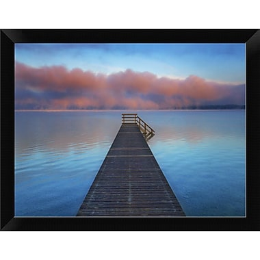 East Urban Home 'Boat Ramp and Fog Bench Bavaria Germany' Framed Oil Painting Print; 9'' H x 12'' W