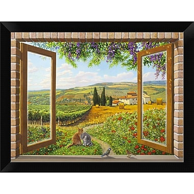 East Urban Home 'Finestra sulla campagna' Framed Graphic Art Print; 9'' H x 12'' W