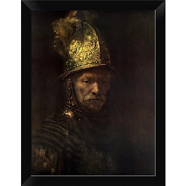 East Urban Home 'Man w/ Gold Helmet' Framed Oil Painting Print; 12'' H x 8.96'' W