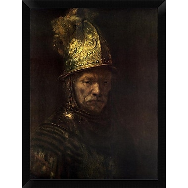 East Urban Home 'Man w/ Gold Helmet' Framed Oil Painting Print; 16'' H x 12'' W