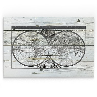 Williston Forge 'World Map Hemispheres' Painting Print on Wrapped Canvas; 24'' H x 36'' W