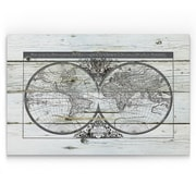 Williston Forge 'World Map Hemispheres' Painting Print on Wrapped Canvas; 18'' H x 27'' W