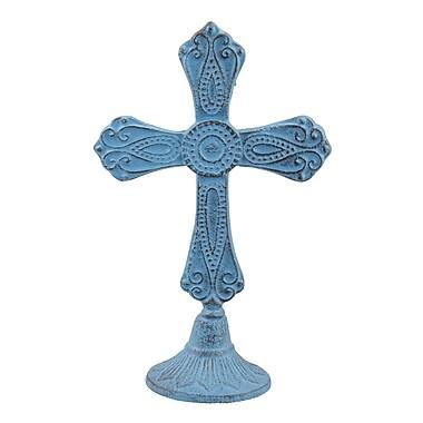 August Grove Worn Jem Cast Iron Cross Pedestal Sculpture