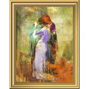 East Urban Home 'Hayez's Kiss 2.0' Framed Oil Painting Print; 14'' H x 11'' W