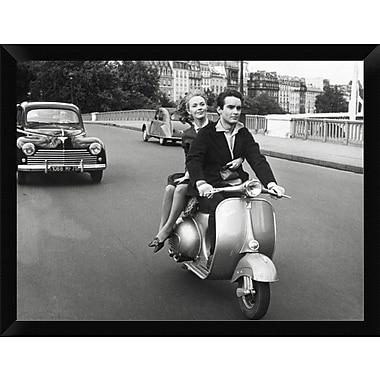 East Urban Home 'On Motorscooter' Framed Photographic Print; 12'' H x 16'' W