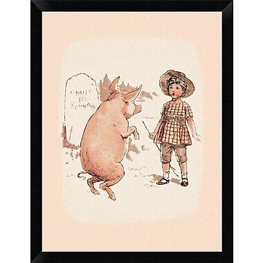 East Urban Home 'Pigs and Pork: Pig on Hind Legs and Little Girl' Framed Graphic Art Print