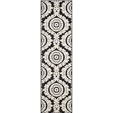 Charlton Home Deweese Black/Beige Outdoor Area Rug; 4' x 6'