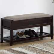 Charlton Home Lambrecht Seating Bench w/ Shoe Storage; Espresso