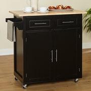 Alcott Hill Larocca Kitchen Cart w/ Wood Top; Black