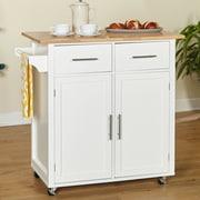 Alcott Hill Larocca Kitchen Cart w/ Wood Top; White