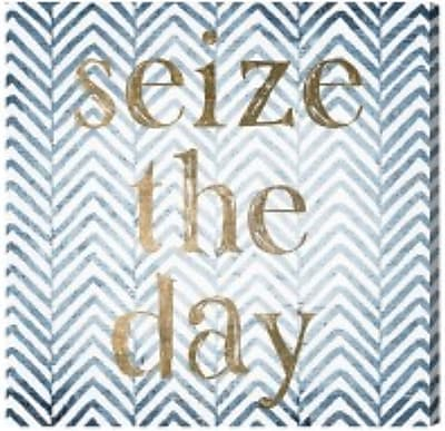 Ivy Bronx 'Seize the Day' Blue Graphic Art on Wrapped Canvas; 36'' H x 36'' W