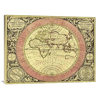 'Maps of the Heavens: Hemisphaerium Orbis Antiqui' Watercolor Painting Print on Canvas