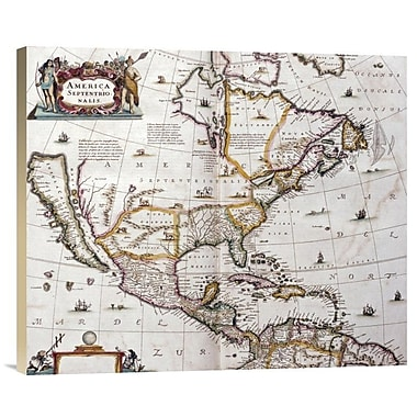 East Urban Home 'Map of North America, 1641' Watercolor Painting Print on Canvas