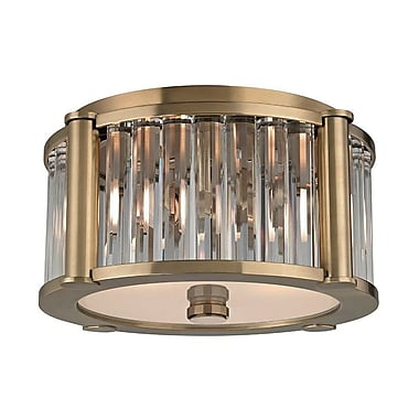 Everly Quinn Abdera 2-Light Flush Mount; Aged Brass