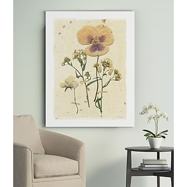 Gracie Oaks 'Pressed Pansy' Oil Painting Print on Wrapped Canvas; 32'' H x 24'' W