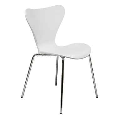 George Oliver Burghfield Modern Transparent Stacking Dining Side Chair; White