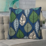 Ivy Bronx Avalos Leaves Floral Euro Pillow; Blue