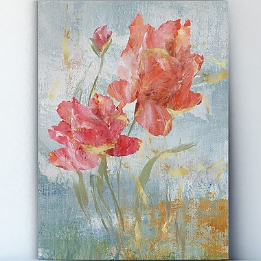 Latitude Run 'Floral Dance I' Watercolor Painting Print on Wrapped Canvas; 40'' H x 30'' W