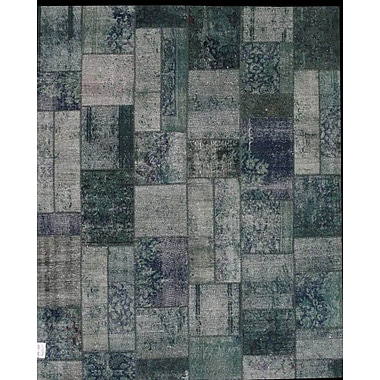 Pasargad Patchwork Hand Knotted Wool Silver/Green Area Rug