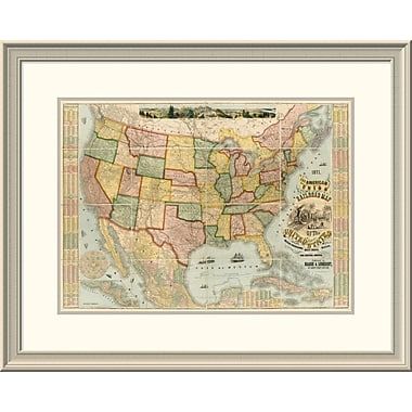 East Urban Home 'American Union Railroad Map of the United States, 1871' Framed Print