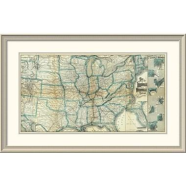 East Urban Home 'Louisville and Nashville Railroad, 1886' Framed Print; 28'' H x 44'' W x 1.5'' D