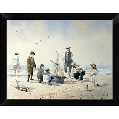 East Urban Home 'The New Boat' Framed Oil Painting Print; 9'' H x 12'' W