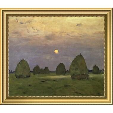 East Urban Home 'Haystacks Twilight 1899' Framed Oil Painting Print; 11.96'' H x 14'' W