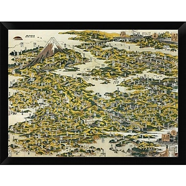 East Urban Home 'Map of the Tokaido Road 1818' Framed Graphic Art Print; 12'' H x 16'' W