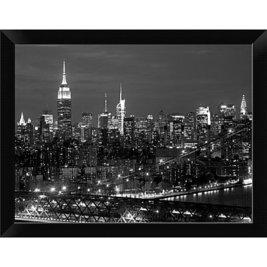 East Urban Home 'Midtown Manhattan at night' Framed Photographic Print; 9'' H x 12'' W
