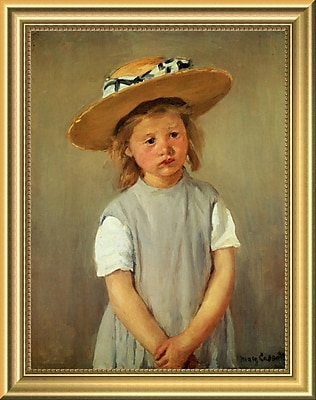 East Urban Home 'Child w/ Straw Hat' Framed Oil Painting Print; 14'' H x 11'' W
