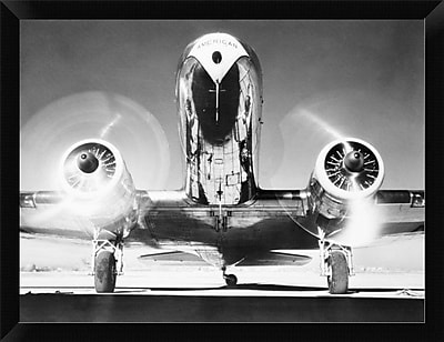 East Urban Home 'Front View of Passenger Airplane' Framed Photographic Print; 12'' H x 16'' W