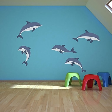 Style and Apply Cartoon Dolphins Set Wall Decal; 16'' H x 13'' W