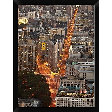 East Urban Home 'Aerial View of Flatiron Building NYC' Framed Graphic Art Print; 16'' H x 12'' W