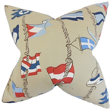 Bayou Breeze Collins Flags Throw Pillow Cover; 18'' x 18''
