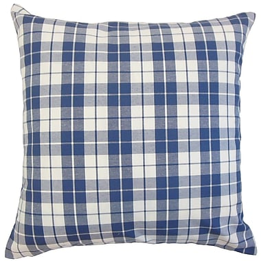 August Grove Joan Plaid Cotton Throw Pillow Cover; Navy