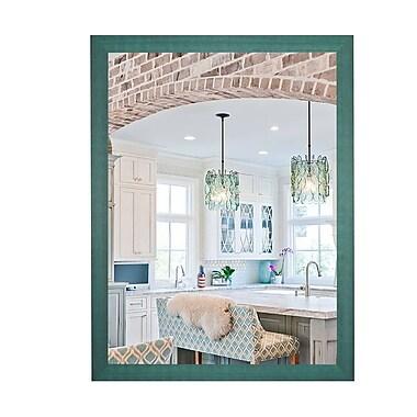 August Grove Cottage Aqua Framed Mirror; 52'' H x 32'' W