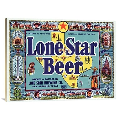 East Urban Home 'Lone Star Beer' Watercolor Painting Print on Canvas; 23'' H x 30'' W x 1.5'' D