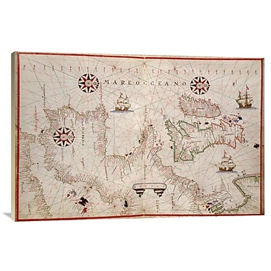 'Portolan Map of Spain, England, Ireland & France' Watercolor Painting Print on Canvas